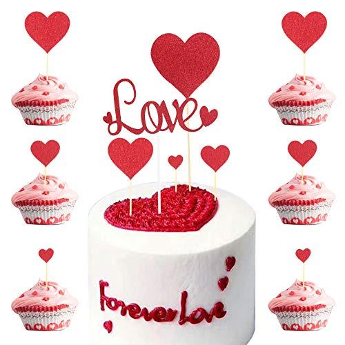 LOPOTIN 25pcs Carta per Torta di San Valentino, Decorazione per Torta Nuziale, Topper Torta Nuziale a Cuore Proposte, Torta Nuziale, Anniversari di Matrimonio, Fidanzati Innamorati, Marito e Moglie.