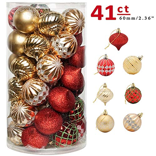 CHICHIC 41ct 2.36' Christmas Ball Ornaments Christmas Tree Balls Decorations Shatterproof Christmas Ornaments Bulbs Sets for Holiday Wedding Party Decoration Tree Ornaments Strings Included, Red Gold