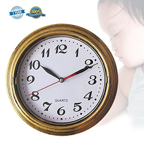 Decor Silent Wall Clock Non-Ticking Decor Wall Clock 8 Inches Vintage Gold Metalic Looking Easy to Ready for Home/School/Hotel/Office