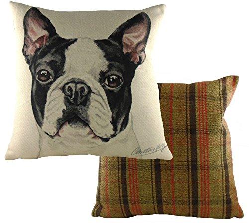 Evans Lichfield Chien Boston Terrier Réversible Tartan Coton Noir Crème Housse de Coussin 17 \