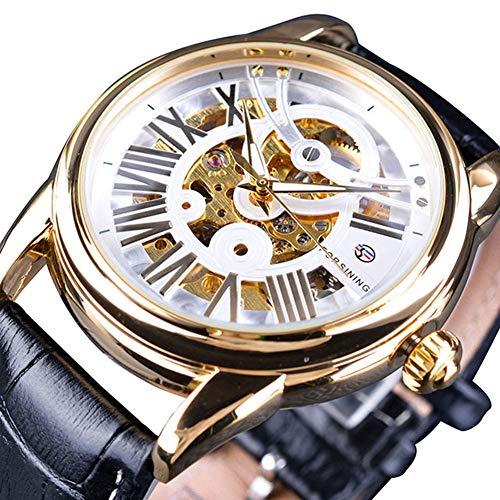 cloudbox Reloj mecánico - Hueco mecánico impermeable PU cuero reloj esfera blanca+caja dorada+correa negra para hombres