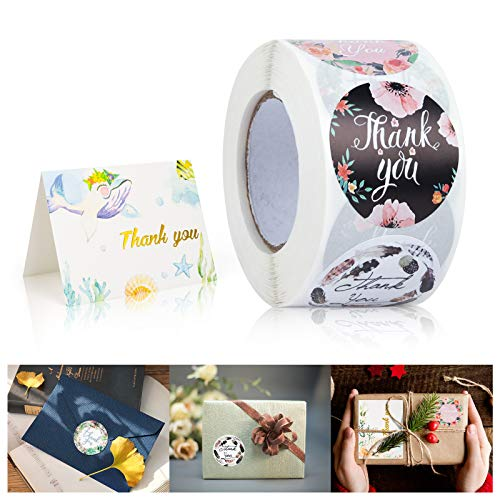 """Thank You Stickers Roll, Cute Thank You Stickers Small Business 1.5"""" Stickers Stamp, 8 Designs 500 Labels and 10 Blessing Cards for Bubble Mailers,Packaging Bags,Boxes,Envelopes,Gifts (Stickers)"""