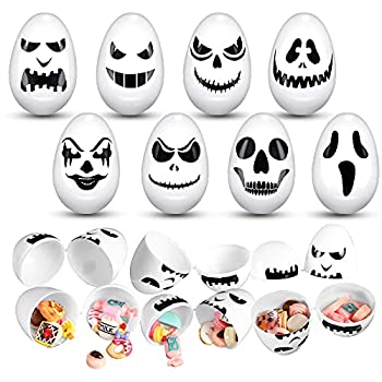 48 Pieces Halloween Skull Easter Eggs Halloween Egg Hunt Plastic Easter Eggs for Trick or Treating Candy Treats Holder Halloween Party Supplies