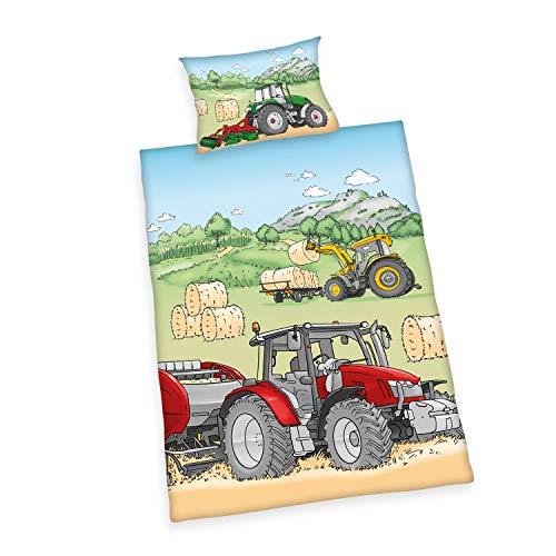 Klaus Herding GmbH Herding Bio-Bettwäsche-Set, GOTS zertifiziert, Traktor Wendemotiv, Kopfkissenbezug 40 x 60 cm, Bettbezug ca. 100 x 135 cm, Baumwolle/Renforcé, Mehrfarbig, 100x135