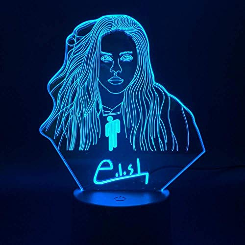 Lampka nocna LED z iluzją 3D Billie Eilish do sypialni, dekoracja na biurko, prezent dla fanów
