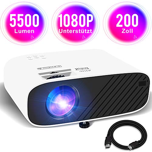 Mini Beamer Full HD 1080P Unterstützt Video Projektor Heimkino Beamer mit HiFi Stereo 5500 Lumen 200