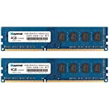 ROYEMAI 8GB Kit (2X4GB) DDR3 RAM, DDR3 1333 PC3-10600U 4GB DDR3 2Rx8 240-pin Dimm CL9 1.5V Desktop RAM Memory Module