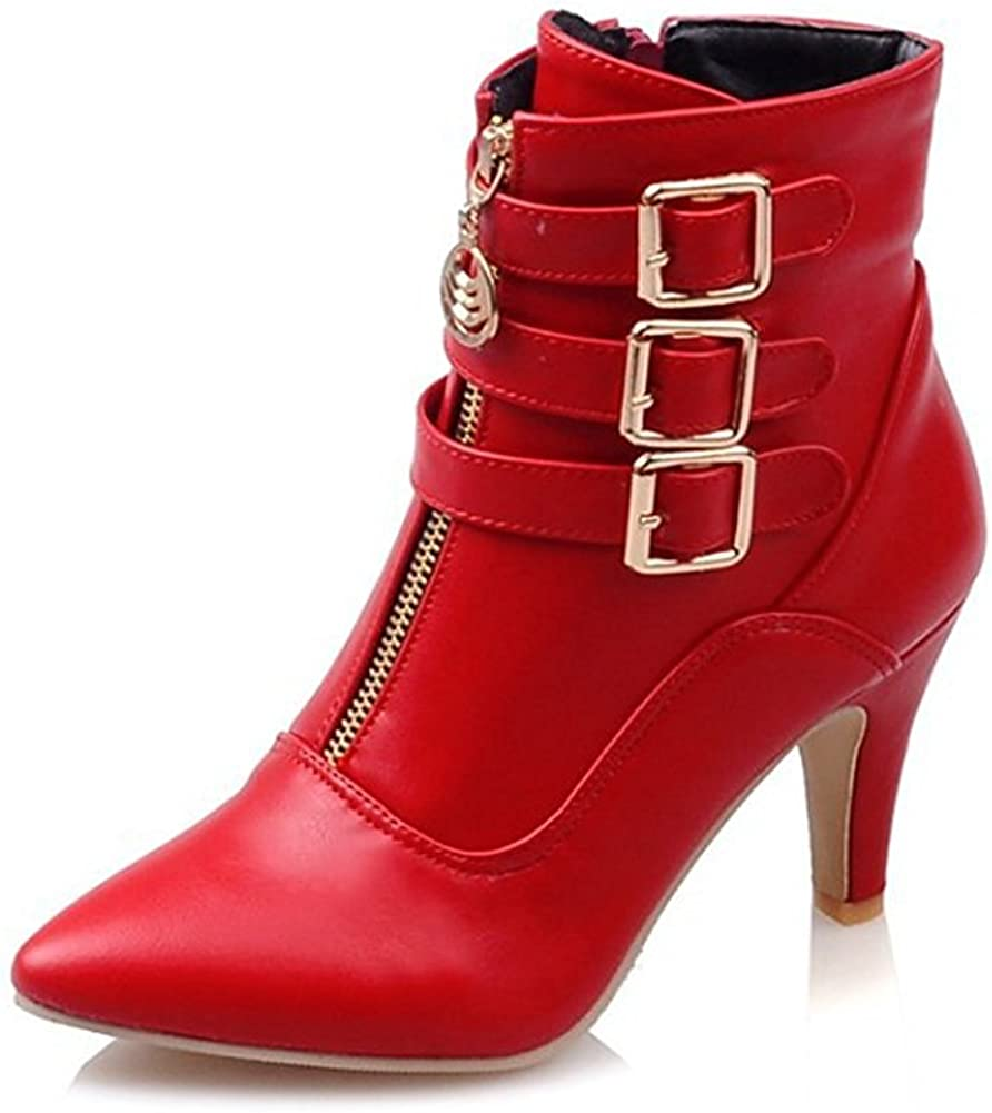 MayBest Women Autumn Winter Mid Calf Leather Boots High Heel Zipper Military Buckle Motorcycle Cowboy Ankle Booties