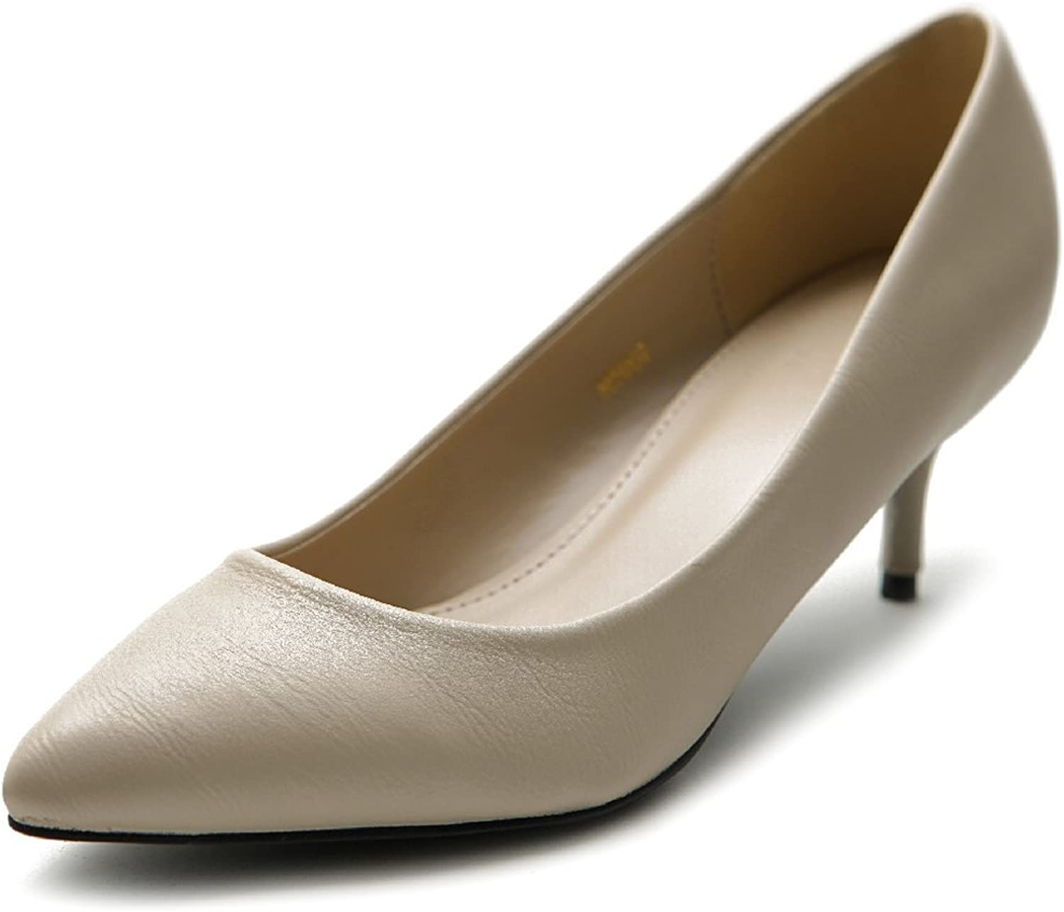 Ollio Women's shoes D'Orsay Pointed Toe Simple Mid Heel Pump