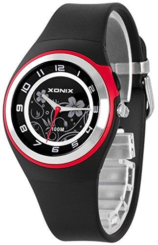 Bezaubernde Damen XONIX Armbanduhr WR100m nickelfrei Licht Blumenmuster