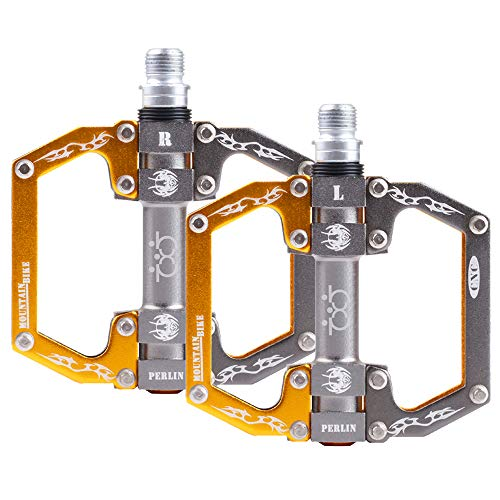 boruizhen Mountain Bike Pedals CNC Sealed Bearing Aluminium Alloy Flat Pedals 9/16' Cycling Pedals for BMX/MTB Bike (Gold)