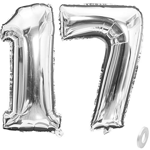 BoomYou Large Foil Mylar Balloons 40 Inch Silver Number 17 Balloons Giant Jumbo Birthday Balloons for Birthday Party Decorations – Silver #17