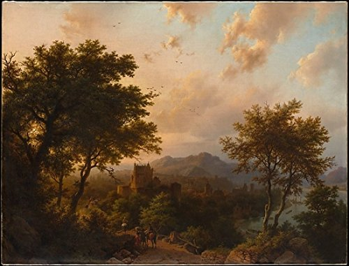 Barend Cornelis Koekkoek – Sunset on the Rhine Kunstdruck (45,72 x 60,96 cm)