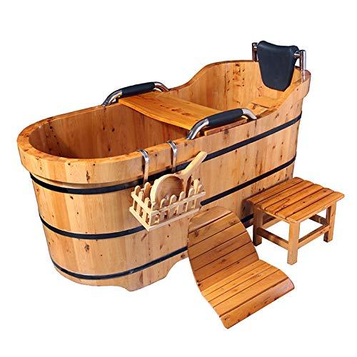Neues Upgrade Massivholz Begasung Holzfass Badewanne Mit Badewanne,Sauna Bath Barrel Holzbadewanne, LuxuszubehöR, 100-150 Cm / 39-59 Zoll,150cm