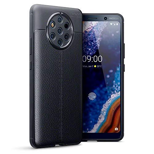 TERRAPIN, Kompatibel mit Nokia 9 PureView Hülle, TPU Schutzhülle Tasche Case Cover mit Leder Textur Dessin - Schwarz
