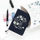 para el Cuaderno SySakura temático Delicada Floral Diario Cubierta Norma A6 Libro de Papel rellenó Libro, Tamaño: Solamente la Cubierta del paño A6 (Rosa) (Color : Navy Blue)