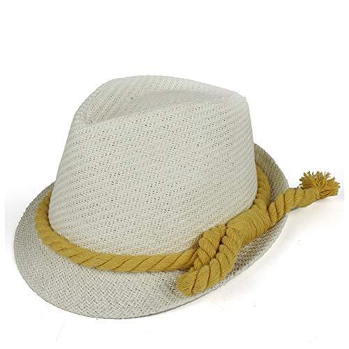 Xuguiping Unisex Vrouwen Mannen Mode Strand Zonnestro Zomer Casual Trendy Panama Jazz Hoed Cowboy Fedora Hoed 56-58 wit