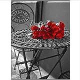 WACYDSD Puzzle 1000 Piezas Rosa roja sobre la Mesa Rompecabezas clsico DIY Kit de Juguete de Madera decoracin para el hogar