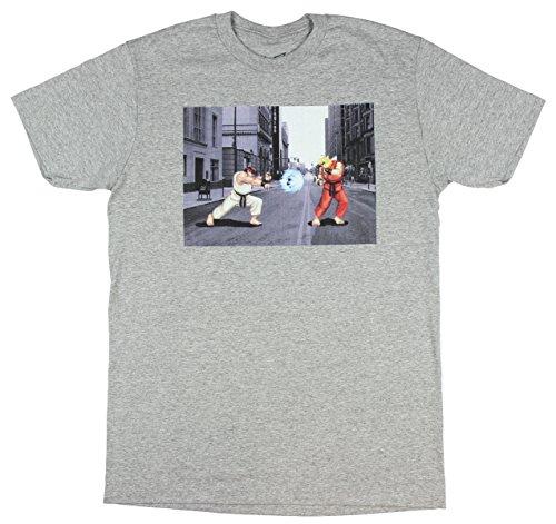 Ryu And Ken Street Fighter Men's Gray T-Shirt Tee Shirt-Medium