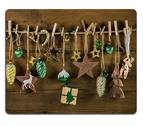Liili mouse pad Natural rubber Mousepad Image ID 32837311rustico vintage decorazione di Natale su legno oro e marrone colori