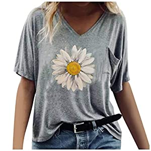 UULIKE Women Short Sleeve Top Fashion V-Neck Loose Fit Blouse with Pocket Summer Casual Daisy Printed Tunic Tops Plus Size Tee T-Shirt for Ladies and Girl Size S-XXXL Gray