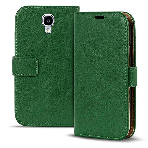 Conie PU Lederhülle kompatibel mit Samsung Galaxy S4 Mini, Grüne Klapptasche im Vintage Design Etui Hülle mit Kartenfächer