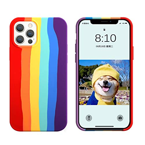 Yesun K Rainbow Stripes Personality Creativity Straight Side Square for iPhone 12 Mini Pro Max Liquid Silicone Phone Case (Rainbow,iPhone 12 Pro Max 6.7'')