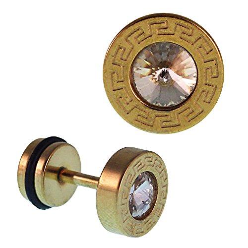 Piercing falso dilatador dorado con pequeña circonita blanca y diseño cuadrado de acero inoxidable