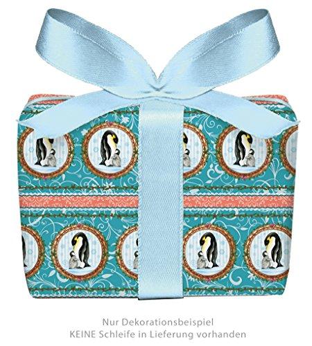 3er-Set Weihnachts Geschenkpapier Bögen PINGUIN MIT BABY in EISBLAU TÜRKIS zu Weihnachten & Adventszeit • Weihnachtspapier für Weihnachtsgeschenke, Adventskalender u.v.m. (Format : 50 x 70 cm)