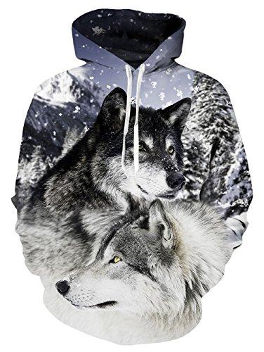 NEWISTAR Damen Digitaldruck Kapuzenpullover 3D Wolf Druck Hoodie Mit Taschen Plus Large