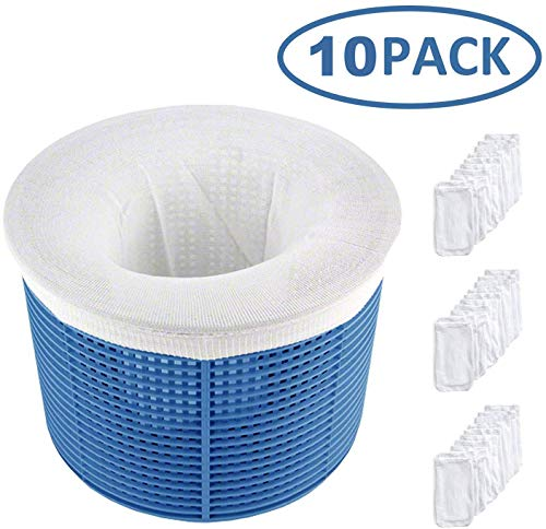 HIQE-FL Skimmer Korb Filter,Schwimmbad Skimmer Socken,Pool Skimmer Socken Filter,Filter Skimmer Pool,Schwimmbad Korb,Filterschoner zum Schutz Ihrer Filter,Weiß(10 pcs)