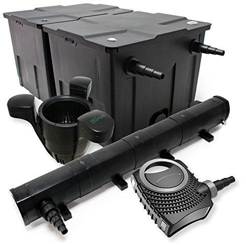 Set: Bio vijverfilter 60000l 72W UVC vijverzuiveraar 80W vijverpomp Skimmer