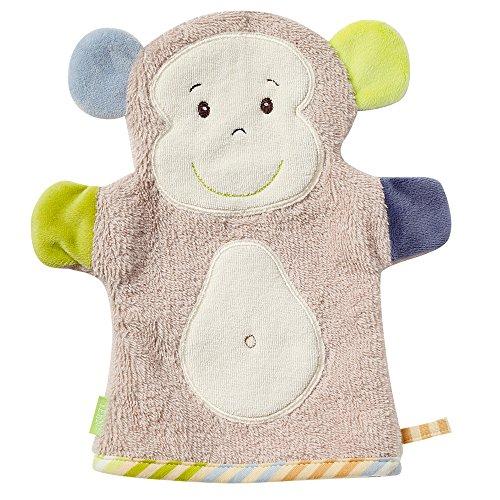 Fehn 081480 Waschhandschuh Affe – Waschlappen mit Tiermotiv für fröhlichen Badespaß, für Babys und Kinder ab 0+ Monaten