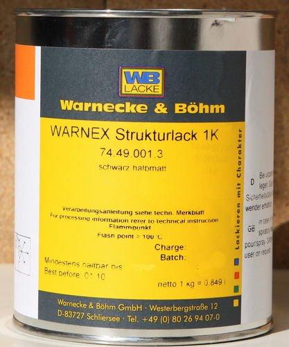 Warnex Strukturlack SCHWARZ halbmatt 6kg Grossgebinde
