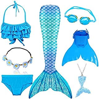4 Colors 3 Pieces Girl Kids Mermaid Tail Swimmable Bikini Set Bathing Suit Fancy Children Mermaid Tail Costume Cosplay 3-1...