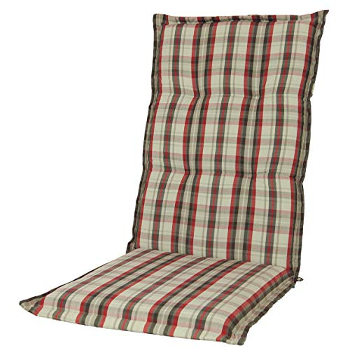 Kopu®-kussen hoge rug Bradford | Tuinkussen voor standenstoelen | tuinkussen 125 x 50 cm | Geruit dessin in rood en verschillende grijs tinten | Stevig schuim voor extra comfort
