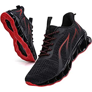 SKDOIUL Sport Walking Shoes for Men mesh Breathable Comfort Fashion Running Shoes Man Black red Sneakers Runner Jogging Casual Tennis Trainers Size 10