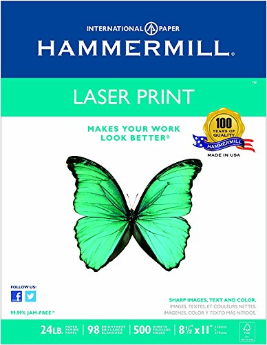 Hammermill Paper, Laser Print, 24lb, 8.5 x 11, Letter, 98 Bright, 500 Sheets/1 Ream (104604), Made in the USA (500 Sheets (4))