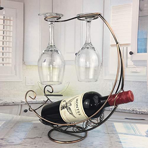 Botelleros Vino Creativa del vino del metal colgador Vino Titular Glass Bar del soporte del soporte de exhibición del soporte de decoración (Color : Copper)