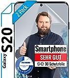 [2 Stück] 3D Schutzfolien kompatibel mit Samsung Galaxy S20 - [Made in Germany - TÜV Nord] - 100prozent Fingerabdrucksensor – Hüllenfre&lich – Transparent – kein Glas sondern Panzerfolie TPU