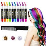 FRCOLOR Hair Chalk for Kids, 10 Colors Temporary Hair Chalk Pens, Washable Hair Dye with 3 Colors Hair Body Glitters