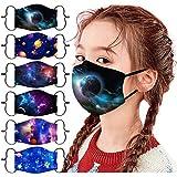 ZuzongYr 6 Stück Kinder Mundschutz Universum Sternenklarer Himmel Drucken Atmungsaktive Baumwolle Stoffmaske Waschbar Mund-Nasenschutz Verstellbar Jungen Mädchen Halstuch Schal