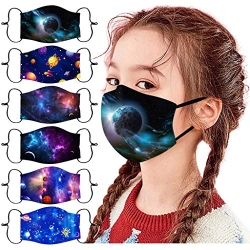 6pcs Kids Reusable Face_Masks, Breathable Face Bandanas Seamless Cute Cartoon Print Cotton Guard for Childrens (Pattern 12)
