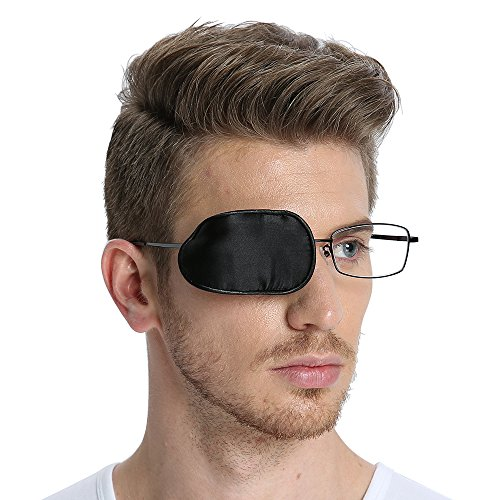 FCAROLYN Silk Eye Patch for Glasses to Treat Lazy Eye/Amblyopia/Strabismus ONE Patch,Large,Black