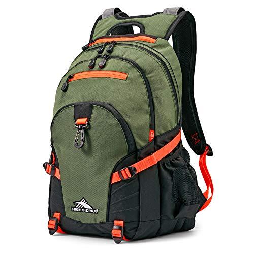 High Sierra Loop-Backpack, School, Travel, or Work Bookbag with tablet-sleeve, Forest Green/Electric Orange, One Size