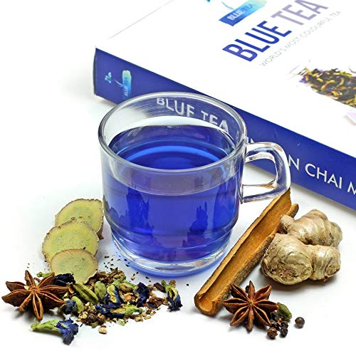 BLUE TEA - Indian Chai Masala | Caffeine Free Herbal Tea - Loose | Butterfly Pea Flower, Ginger, Cardamom, Cinnamon, Clove, Star Anise and Other Spices Herbal Blend | 50g - 50 Cups | Best Detox Tea