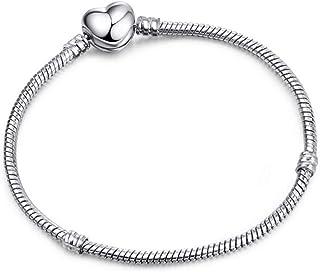 DAIDAISL Rose Gold Color Snake Chain Charm Bracelet Fit Original Beads Bracelet Jewelry Gift For Women