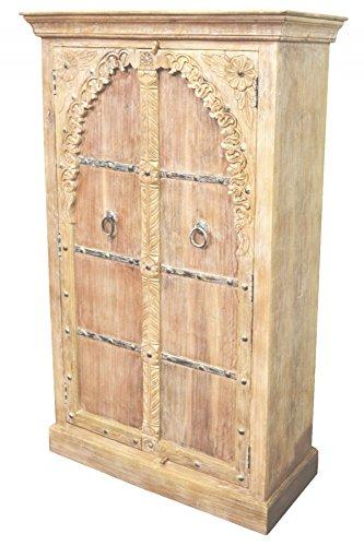 Orientalischer Kleiner Schrank Kleiderschrank Batoul 160cm hoch | Marokkanischer Vintage Dielenschrank schmal | Orientalische Schränke aus Holz massiv für den Flur, Schlafzimmer, Wohnzimmer oder Bad