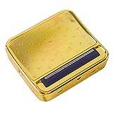 LJH Caja de cigarrillos automática, para cigarrillos, portátil, de metal, para cigarrillos y caja de almacenamiento (dorada)