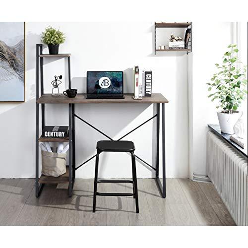 CozyCasa Computer Desk Writing Desk with 3-Tier Shelf Modern Simple Study Desk Small Home Office Desk PC Gaming Desk Laptop Notebook Table Workstation Bedroom Desk for Teens, Metal Leg, Brown Black